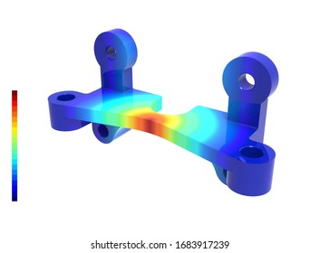 3D render. Stress loads. Finite element analysis on a mechanical part. Abstract