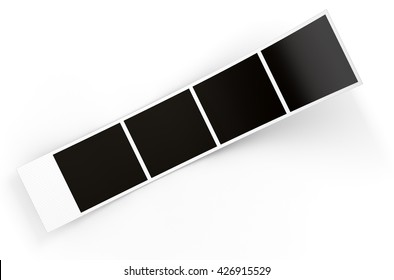 A 3D render of a strip of blank photos from an instant photo booth on an isolated white studio background