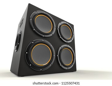 3D render of a subwoofer isolated on a white background