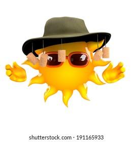 3d render of the sun wearing an Australian cork hat