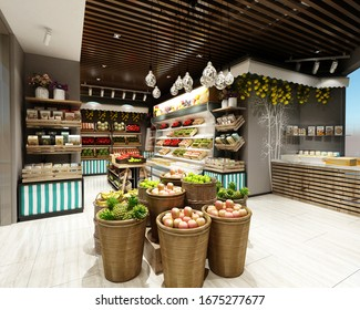 3d render of supermarket grocery