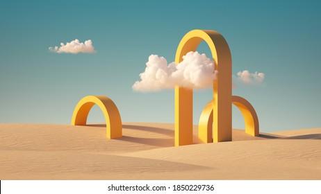 3D Rendering, Surreal Wüstenlandschaft mit gelben Bögen und weißen Wolken im blauen Himmel. Moderner, minimaler abstrakter Hintergrund