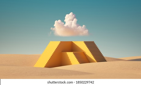 3d render, Surreal desert landscape. White clouds in the blue sky, fly above the high yellow pyramid with stairs. Modern minimal abstract background. Challenge concept.
