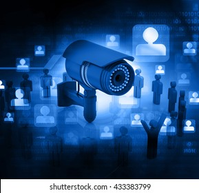 3d render of Surveillance camera with people. technology background