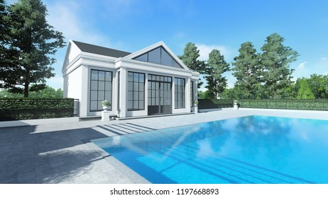 3d render swimming pool mini classic style pavilion right view