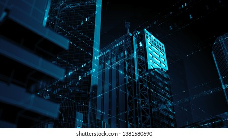 3d render technology background. Abstract skyscrapers with code around them. Wireframe structure and binary code around reflective buildings.