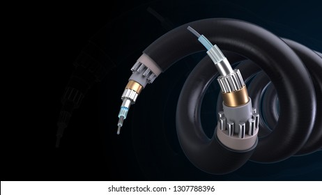 3d render technology background. Concept of fiber optic internet cable with complex structure.