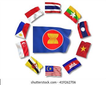 3D render , Ten countries flags of Asean Economic Community (AEC)