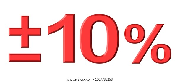 3d render of ten percent text isolated over white background