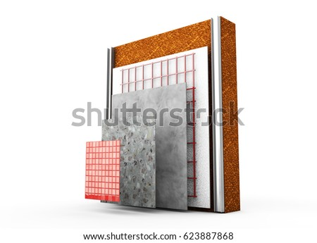 3 D Render Thermal Insulation Walls Stock Illustration