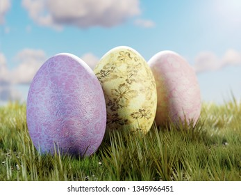 3D render of three painted easter eggs in the grass over blue sky