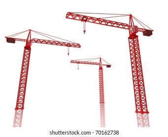 3D Render of three red cranes on white isolated background