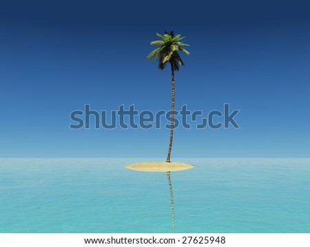 3d Render Of A Tiny Island With Coconut Tree