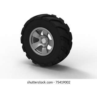 3d render of  tire cover with a large protector and a disk on a white background