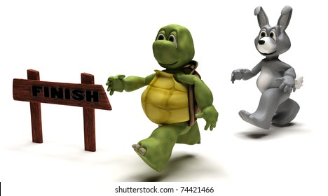 3D Render of a Tortoise and Hare race metaphor
