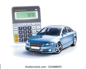3d  Render: Toy Car and Calculator Concept for Buying, Renting, Fuel or Service and Repair Costs, Car Calculation