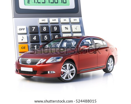 3 d render toy car calculator concept stock illustration 524488015