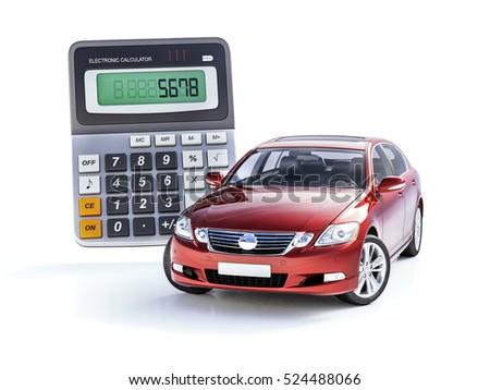 3 d render toy car calculator concept stock illustration 524488066