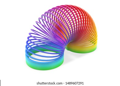 3D render of toy plastic colorful rainbow spiral spring