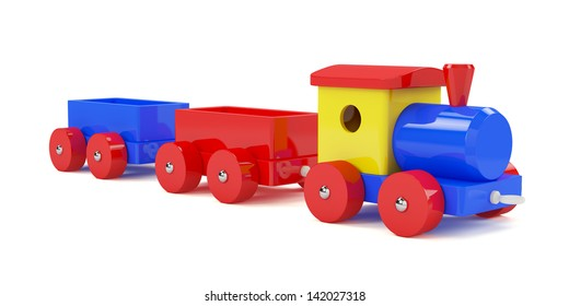 3d render of toy train isolated on white background