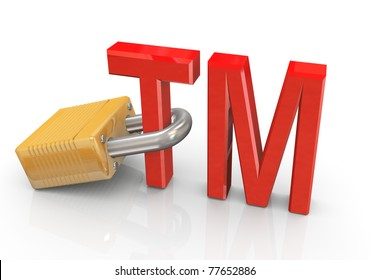 3d render of trade mark sign with padlock. Concept of copyright protection