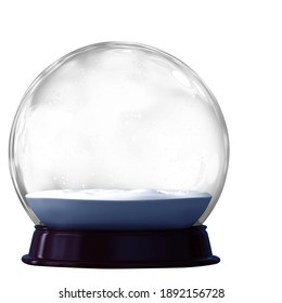 A 3D render of a transparent empty snowglobe isolated on a white background