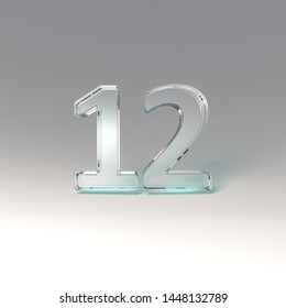 3D render transparent glass digits 12 twelve