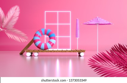 3d render travel vactions image Colorful design Sunny tropical lifestyle still life vacation composition umbrella sunbath lounge chillout