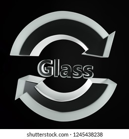 3d render of 3D two arrow Glass recycling symbol over black background