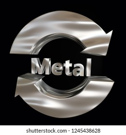 3d render of 3D two arrow metal  recycling symbol over black background