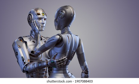 3d render of two detailed cyborgs man and woman or futuristic humanoid robots touching each other with passion and love showing their human sentiments. Isolated on color with copy space for text