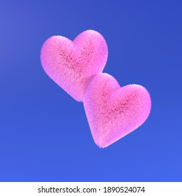 3d render of two fluffy pink hearts on blue background. Design concept of Valentine's Day. Minimalistic style.