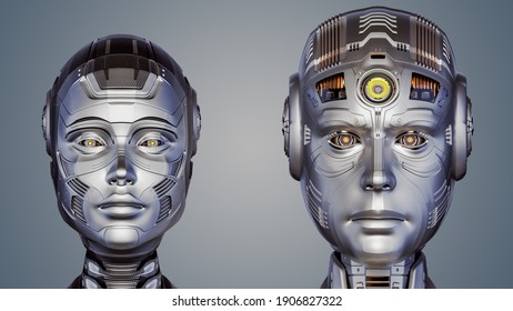 3d render of two futuristic robot heads man and woman. Cyber faces. Front view isolated on color background