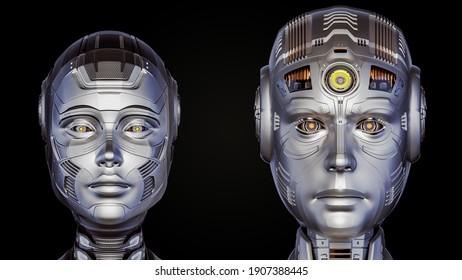 3d render of two futuristic robot heads man and woman. Cyber faces. Front view isolated on black background