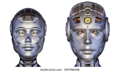 3d render of two futuristic robot heads man and woman. Cyber faces. Front view isolated on white background