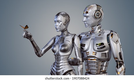 3d render of two futuristic robots man and woman carefully looking at the butterfly sitting on female's forefinger. Upper bodies isolated on color background