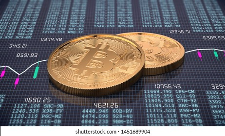 3d render of two golden bitcoin on trading chart background. Physical bit coin - Digital currency - Cryptocurrency