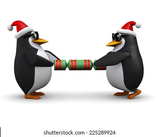 3d render of two penguins wearing Santa Claus hats and pulling on a Christmas cracker