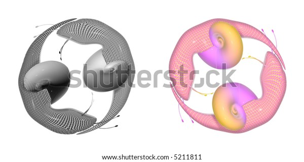 """3d render of two and two snails - """"emo"""" and color , jing and jang etc"""