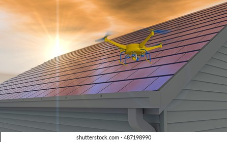 3D render of UAV drone inspecting an integrated solar shingle roof. Fictitious UAV and generic solar panels; extreme lens flare, depth-of-field and motion blur for dramatic effect.