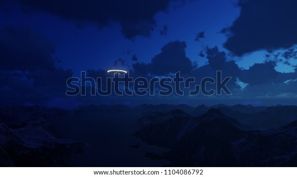 3D render UFO over the mountains