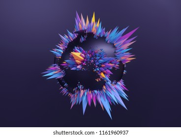 3d render, ultraviolet abstract background, primitive geometric shapes, fashion concept, minimal modern mockup, black ball decorated with colorful pyramids, isolated on black background