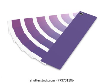 3d render of ultraviolet color palette guide over white. Color of the year 2018.