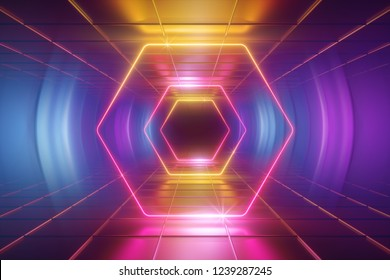3d render, ultraviolet neon light, tunnel, hexagon, frame, abstract background, hexagonal portal, virtual reality environment, glowing lines, pink blue yellow spectrum, vibrant colors, laser show