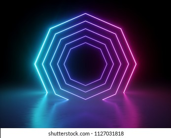 3d render, ultraviolet neon octagon, glowing lines, octagonal shape portal, virtual reality, abstract fashion background, violet neon lights blend, arch, pink blue spectrum vibrant colors, laser show