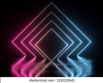 3d render, ultraviolet neon square portal, glowing lines, tunnel, corridor, virtual reality, abstract fashion background, violet neon lights, arch, pink blue vibrant colors, laser show