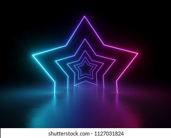 3d render, ultraviolet neon star shape, glowing lines, virtual reality, portal, tunnel, abstract fashion background, violet neon lights, arch, pink blue spectrum vibrant colors, laser show