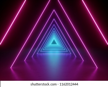 3d render, ultraviolet neon triangular portal, glowing lines, tunnel, corridor, virtual reality, abstract fashion background, violet lights, arch, pink blue triangle, vibrant colors, laser show