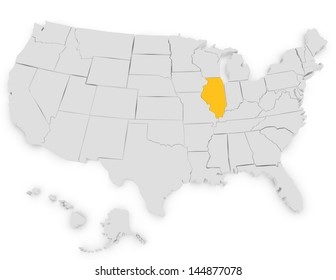 3d Render of the United States Highlighting Illinois