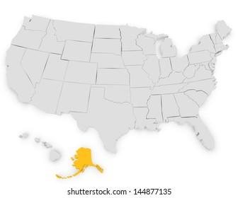 3d Render of the United States Highlighting Alaska